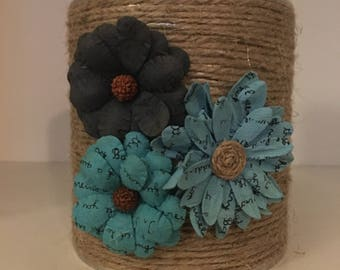 Rustic Holder - Blue Flowers