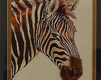 Zebra 1990 Original Watercolor Painting