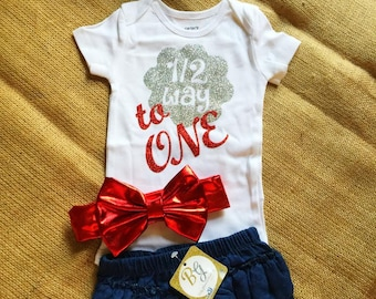 Free shipping,Denim,6 Months,Half Birthday,Onesie,Outfit,Baby,Girl,Princess,Diapers Covers,Gift,Props,Photo,Shooting