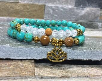 Lotus mala meditation bracelet set turquoise mountain crystal Jasper