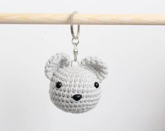 Cute animal keychain charm - Bear crochet keychain - toy keychain -  stuffed animal - bag accessory - bag charm - bear keychain charm