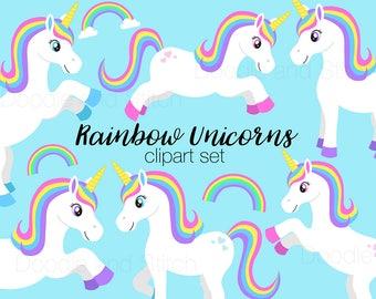 Rainbow Unicorn Clipart, Cute Unicorns Clip Art Illustrations, Rainbow png Designs, Cute Clipart Pictures