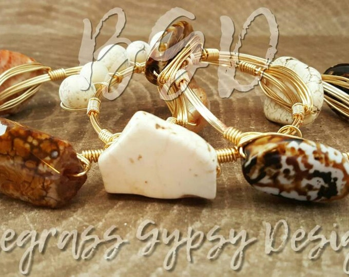 White Howlite Stone Wire Wrapped Bangle, Bracelet, Bourbon and Boweties Inspired