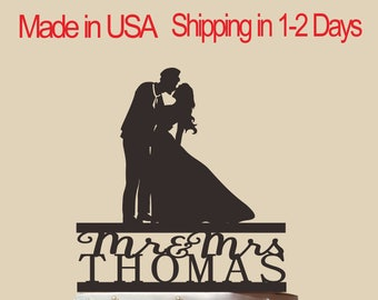 Personalized Navy Soldier and Bride Cake Topper, Wedding Cake Topper,  Bridal Shower Topper, Wedding Decoration, Custom, Silhouette,  CT162