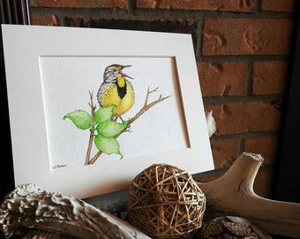 Woodland nursery, Bird art, Nature painting, Woodland animal artwork, Spring art, Meadowlark, Country art, Woodland wall art, Bird decor