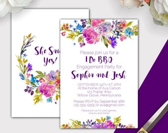 Garden I Do BBQ Invitation Printable, Purple I Do BBQ Engagement Party Invites, Floral Engagement BBQ Invitation Template Download K003