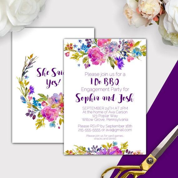 Garden I Do BBQ Invitation Printable Purple Engagement