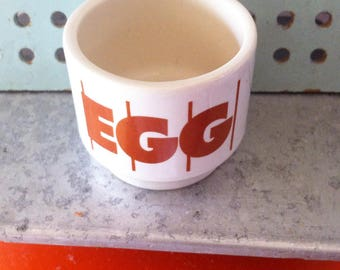 Hornsea Egg Cup, 1980's John Clappison stripes pattern, earthenware. Made in England.