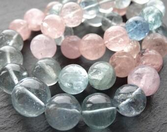 Aquamarine & Morganite rounds, 9mm - 13mm, 46cm string, 45 beads, (1226)