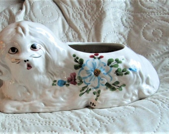 VINTAGE SPANISH DOG,  dog collectors, white dogs,  pottery, ceramics, hand painted, dog planters,