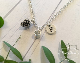 OOAK, pinecone necklace, initial necklace, mini pinecone, pinecone necklace, nature jewelry, nature necklace, sterling silver, resin charm