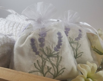 Lavender Sachet, Embroidered Sachet, Lavender Buds, Small Lavender Pillow, Aromatherapy Sachet - Made to Order
