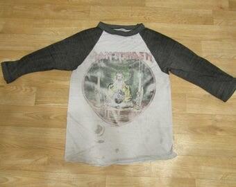 Vintage Iron Maiden Seventh Son 1988 tour shirt Paper thin Raglan distressed