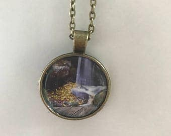 Fall autumn waterfall necklace in antique bronze
