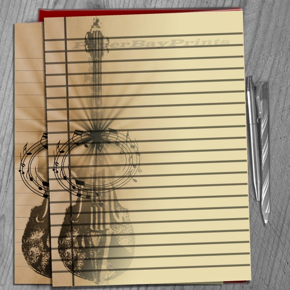 Printable Writing Paper, Lined Paper Background, Retro Violin Print,  Vintage Scrapbook Paper, Template, Instant Download From PaperBayPrints On  Etsy Studio  Print Writing Paper