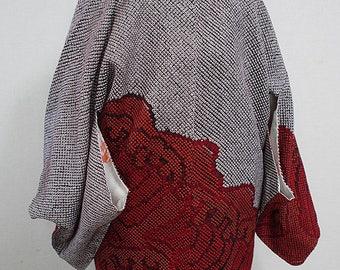 second hand Japanese haori kimono jacket for women, shibori, silk, wave