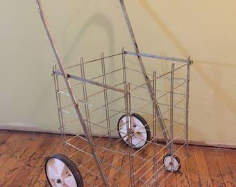 Vintage Metal Shopping Cart/Shopping Cart/Metal Cart/Metal Shopping Cart/Shopping Cart/Vintage Cart/Collapsible Shoppig Cart