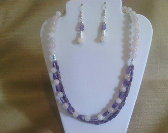 306 Natural Amethyst and Rose Quartz Beaded Choker