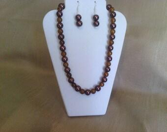 284 Stylish Large Chocolate Glass Pearl Beads and Crackle Glass Beads Beaded Choker