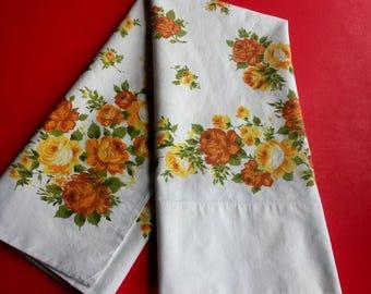 Floral vintage standard size pillowcase, gold orange yellow floral  pillowcase