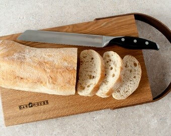 Large Handmade Solid English Oak Serving Board with leather strap made by Oak House
