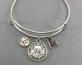 US Navy - Navy Gift For Her - Military - Deployment Gift - Bootcamp Graduation Gift -  Navy Wife - Navy Mom - Navy Girlfriend - Bracelet