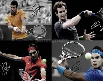 Tennis fab 4 - Andy Murray, Novak Djokovic, Rafael Nadal, Roger Federer pre signed photo print poster - 12x8 inches (30cm x 20cm)