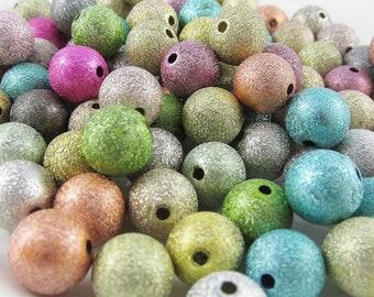 50g 55+pcs Acrylic Metallic Look Stardust Round Craft Beads 12mm Hole 2mm