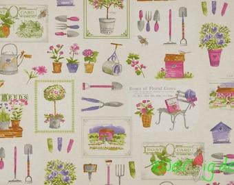 Decorative garden tool flowers bright nature - digital printing