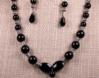 Black Beaded Necklace and Earings