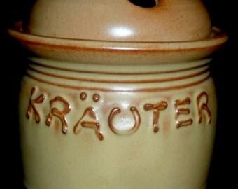 Vintage German Herb Jar~Hand Made Ceramics~Kitchen Jar~Herb Storage Jar~Rustic Kitchen~Housewarming Gift~