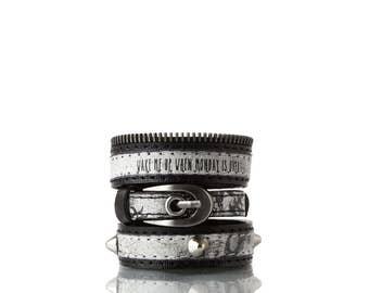 Colours of Life - B&W Bracelet | 3 In 1, Handmade, Genuine Leather, Bracelet, Print, Quote, Black, White