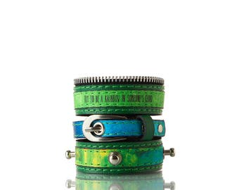 Colours of Life - Sea Bracelet   3 In 1, Handmade, Genuine Leather, Bracelet, Print, Quote, Green, Blue