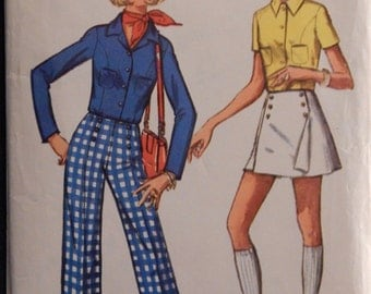 Vintage Young Junior/Teens' and Misses' Shirt, Pants,and Pant Skirt Simplicity 8759 Retro 1970 Size 13/14