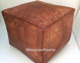 Moroccan square leather pouf