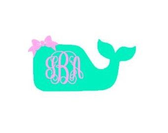 Preppy Whale Monogram Decal