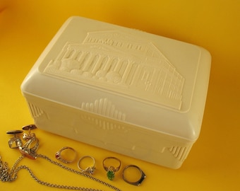 Russian vintage plastic CASKET soviet JEWELRY BOX container Made in Ussr case Trinket Storage box Decor chest