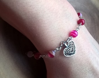 pink beaded love heart charm bracelet, silver heart jewellery, gift for her
