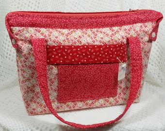 Red Quilted Purse, Quilted Purse, Quilted Handbag, Red and White Homemade Quilted Purse, Cotton Fabric Handbag, Silver Butterfly Purse Pull