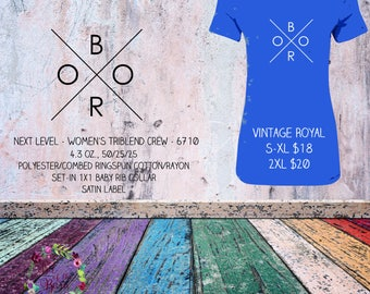 Womens Triblend T-shirt with Boro design