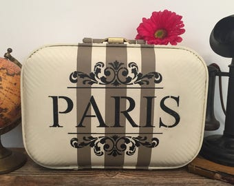 Small Vintage Leather Suitcase, Hand Painted, Paris Theme, Home Decor, Farmhouse, Travel, French Country, White, Beige, Upcycled & Renewed