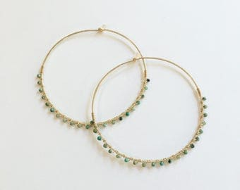 Big Hammered Gold Hoop Earring, Hammered Hoops, Gold Turquoise Bead Hoops, Big Gold Hoop, Earrings, Hammered Hoops, Gold Hoops,
