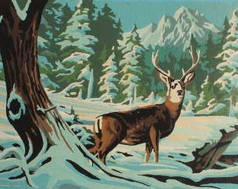 Paint by Number Poster: Deer, Enlarged Poster Prints of Vintage Paint by Number Winter Deer