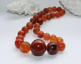 Handmade African carnelian stones, carnelian beads, old beads, antique beads, Ghana, West Africa, strand 32 cm