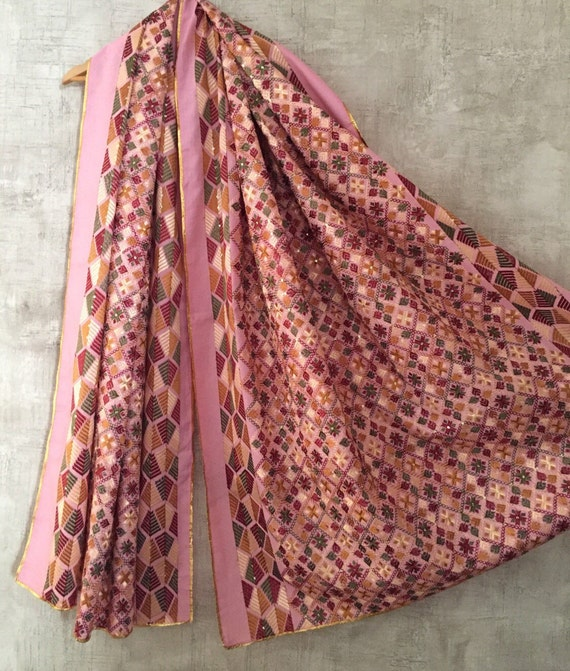 Pink phulkari dupatta indian embroidery fabric stole scarf