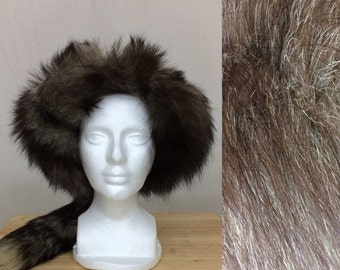 Vintage silver real fox real fur headband with tail