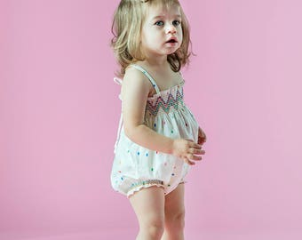 Organic Baby Girl Bubble Romper, Smocked Bubble Romper, Bohemian Baby Clothes, Boho Romper, Baby Girl Outfits