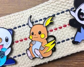 Pokemon Soft Enamel Pin - Cute Chubby Raichu Enamel Hat Pin
