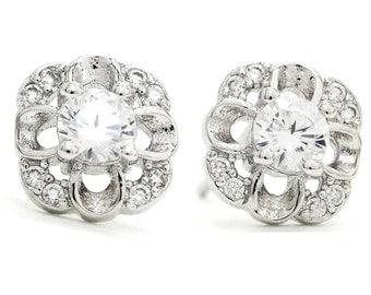 Genuine silver flower stud earrings, 925 Sterling silver, Real silver flower garden earring, Floral petal silver, Flowers, Black gift box