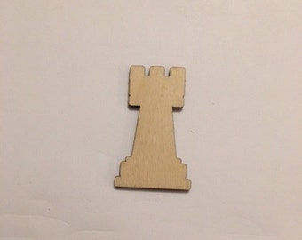 Laser Cut Chess Rook, Check Mate, Wood Shapes, Laser Cut Wood, Multiple Sizes, Unfinished, Crafting Supplies #CS06